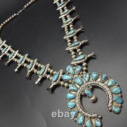 Vintage NAVAJO Cast Sterling Silver SQUASH BLOSSOM Necklace Earring SET Turquois