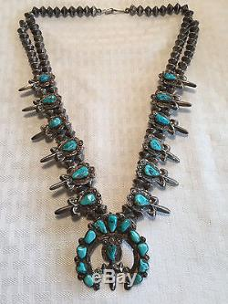 Vintage NAVAJO Cast Sterling & Turquoise SQUASH BLOSSOM Necklace & Earrings SET