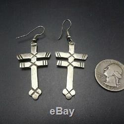 Vintage NAVAJO Double Bar Dragonfly CROSS Sterling Silver EARRINGS Pierced