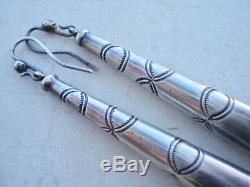 Vintage NAVAJO ERIC BEGAY Stamped FLUTED Sterling SQUASH BLOSSOM Earrings 3