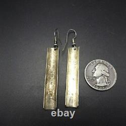 Vintage NAVAJO Hand-Stamped Sterling Silver EARRINGS Long Curved Bars
