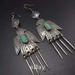 Vintage NAVAJO Hand Stamped Sterling Silver & TURQUOISE EARRINGS Thunder Birds