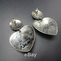 Vintage NAVAJO Hand-Stamped Sterling Silver TURQUOISE Heart-Shaped EARRINGS