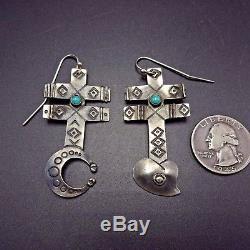 Vintage NAVAJO Hand Stamped Sterling Silver & TURQUOISE Pueblo Cross EARRINGS
