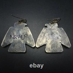 Vintage NAVAJO Hand Stamped Sterling Silver TURQUOISE Thunderbird EARRINGS