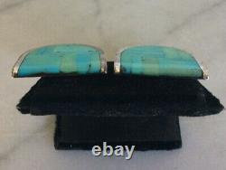 Vintage NAVAJO Jim Harrison Sterling Silver Inlay Turquoise Clip On Earrings