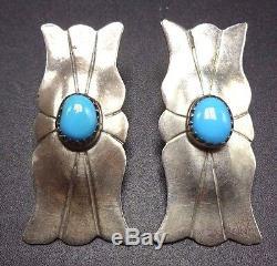 Vintage NAVAJO Sterling Silver Concho Sleeping Beauty TURQUOISE EARRINGS Pierced