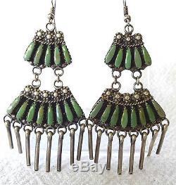 Vintage NAVAJO Sterling Silver & Green TURQUOISE Needlepoint CHANDELIER EARRINGS