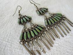 Vintage NAVAJO Sterling Silver & Green TURQUOISE Needlepoint CHANDELIER EARRINGS