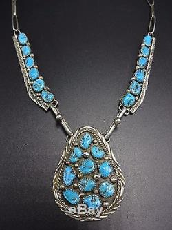 Vintage NAVAJO Sterling Silver & Kingman TURQUOISE Necklace & Earrings SET