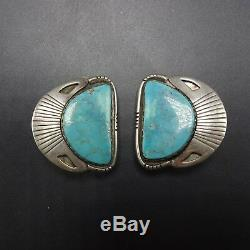 Vintage NAVAJO Sterling Silver & Light Blue TURQUOISE EARRINGS Clip-On