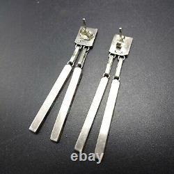 Vintage NAVAJO Sterling Silver MULTI STONE Channel Inlay EARRINGS Dangle Pierced