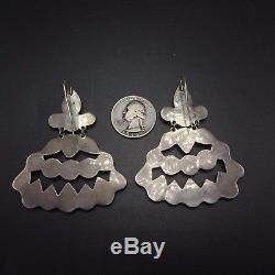Vintage NAVAJO Sterling Silver & TURQUOISE Cluster Chandelier EARRINGS