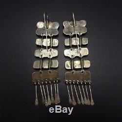 Vintage NAVAJO Sterling Silver & TURQUOISE Cluster Ladder EARRINGS, over 3 Long