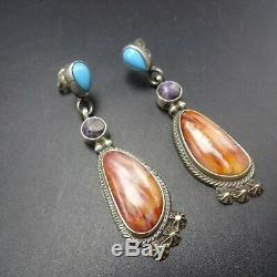 Vintage NAVAJO Sterling Silver TURQUOISE Orange and Purple Spiny Oyster EARRINGS