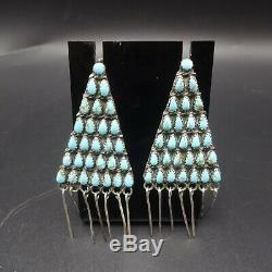 Vintage NAVAJO Sterling Silver TURQUOISE Petit Point Cluster EARRINGS Triangles