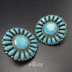 Vintage NAVAJO Sterling Silver TURQUOISE Round Cluster EARRINGS Larry Begay