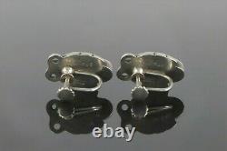 Vintage NO. 108 Georg Jensen 925 Sterling Silver Blossom Screw Back Earrings