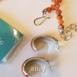 Vintage NWOT JAY KING DTR Sterling 925 Orange Coral Turquoise Earrings Necklace