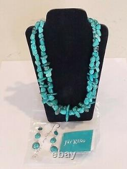 Vintage NWT DTR Jay King Sterling 925 Earrings & 2 Strands Turquoise Necklace