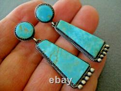 Vintage Native American Navajo 2-Stone Turquoise Sterling Silver Post Earrings