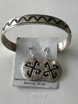 Vintage Native American Navajo Tommy Singer Sterling Earrings and Bracelet Set