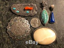 Vintage Native American & Southwestern Sterling Silver Turquoise Jewelry Lot 925