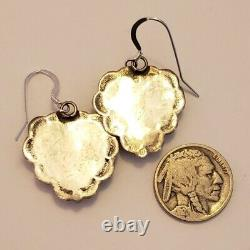 Vintage Native American Stamped Sterling Silver Spiny Oyster Earrings