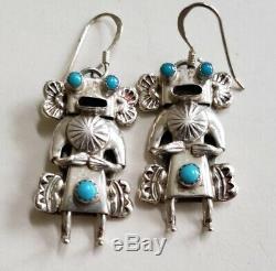 Vintage Native American Sterling Silver Kachina Earrings