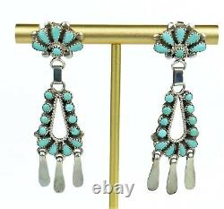 Vintage Native American Sterling Silver Petit Point Turquoise Dangle Earrings