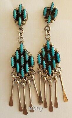 Vintage Native American Sterling Silver Petit Point Zuni Earrings