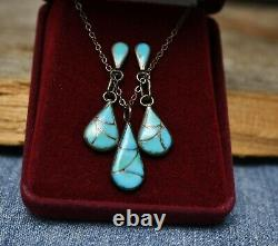 Vintage Native American Zuni Sterling Silver Turquoise Necklace & Earrings Set