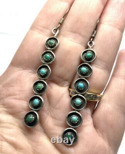 Vintage Native American Zuni Sterling Silver Turquoise Snake Eye Long Earrings