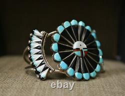 Vintage Native American Zuni Sun God Sterling Silver Bracelet & Earrings Set