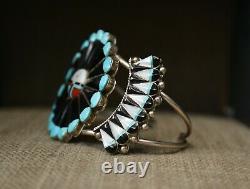 Vintage Native American Zuni Sun God Sterling Silver Cuff Bracelet Earrings Set