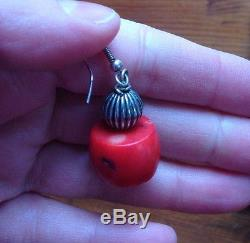 Vintage Natural Red Coral Bead Sterling Silver Dangle Earrings 17g. 6 oz