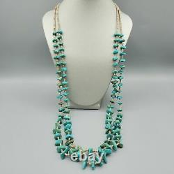 Vintage Navajo 2 Strand Turquoise Nugget Heshi Sterling Silver Necklace 28