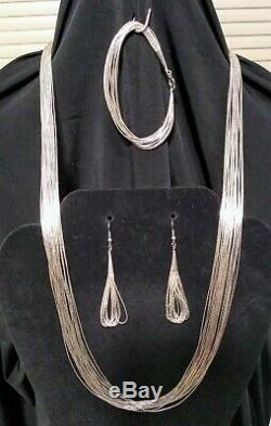 Vintage Navajo 925 Liquid Sterling Silver Set Necklace, Earrings, Bracelet