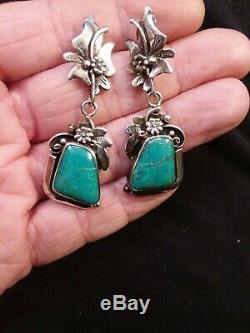 Vintage Navajo Fox Turquoise Sterling Silver Flower Earrings