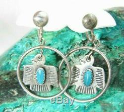Vintage Navajo Fred Harvey Era Turquoise Thunderbird Sterling Dangle Earrings