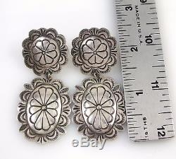 Vintage Navajo Hand Stamped Solid Sterling Silver Concho Dangle Earrings J BX