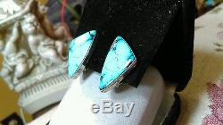 Vintage Navajo High Grade Apache Blue Turquoise Sterling Silver Clip Earrings