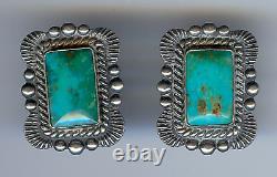 Vintage Navajo Indian Sterling Silver Blue Gem Turquoise Screwback Earrings