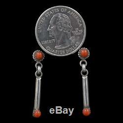 Vintage Navajo Native American Handmade Sterling Silver Coral Post Earrings