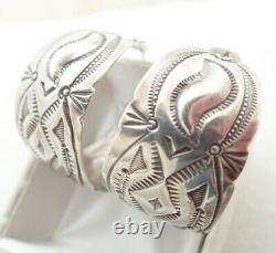 Vintage Navajo Native American Sterling Silver Stamped Hoop Post Earrings