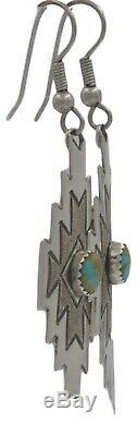 Vintage Navajo Native American Sterling Silver Turquoise Dangle Earrings