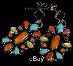 Vintage Navajo Old Pawn Handmade Turquoise Spiny Oyster STERLING Dangle Earrings