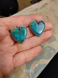 Vintage Navajo Pilot Mountain Turquoise Heart Sterling Silver Earrings