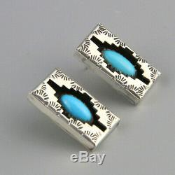 Vintage Navajo Shadowbox Earrings Turquoise Art Glass Stamped Sterling Silver