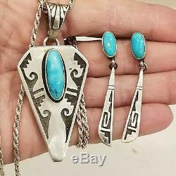 Vintage Navajo Signed CJ Turquoise Sterling Silver 925 Earrings Necklace Pendant